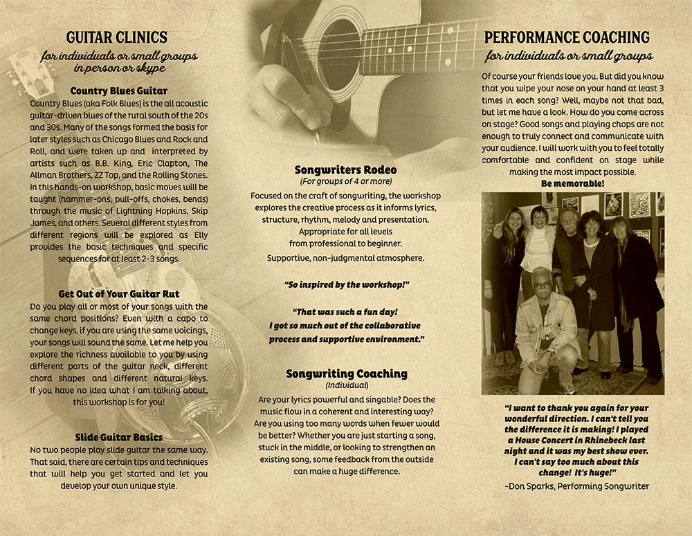 Guitar clinics, Country blues guitar, slide guitar basics, songwriting, Live performace coaching